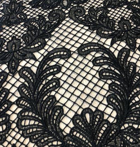 Black macrame thick guipure lace fabric. Photo 2