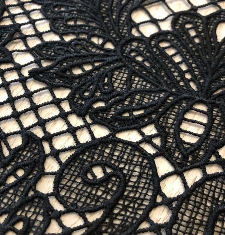 Black macrame thick guipure lace fabric. Photo 6