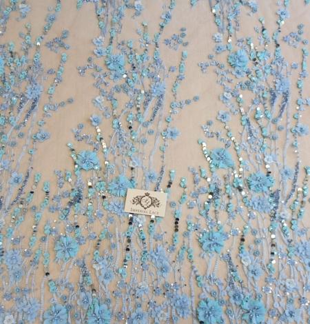 Zils 3D ziedu organisks raksts uz tilla auduma. Photo 5