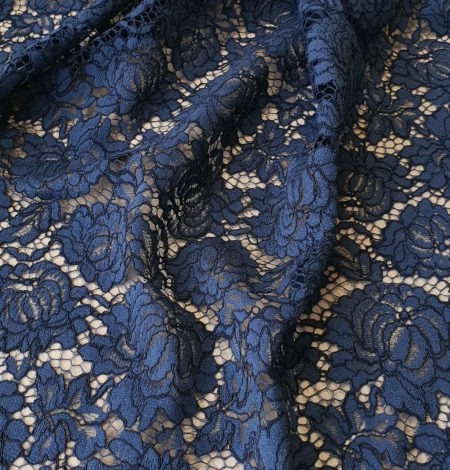 Dark blue cord thread lace fabric. Photo 6