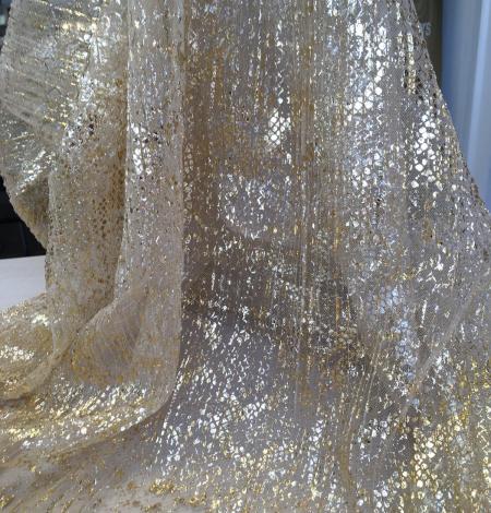 Miesas krāsas tilla audums ar zelta pārklājumu. Photo 7