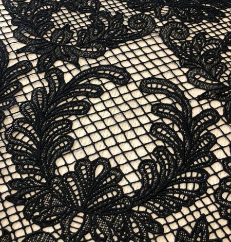 Black macrame thick guipure lace fabric. Photo 5