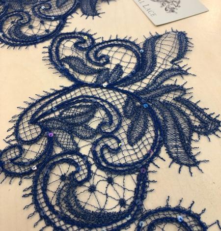 Zilas krāsas macrame mežģīnes maliņa ar fliteriem. Photo 1