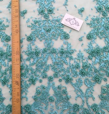 Zaļa 3D ziedu raksta mežģīņu audums. Photo 4