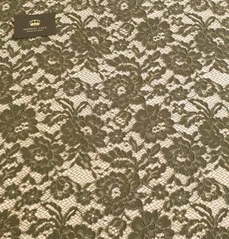 Dark haki green guipue lace fabric. Photo 7