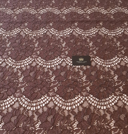 Brown floral guipure lace fabric . Photo 10