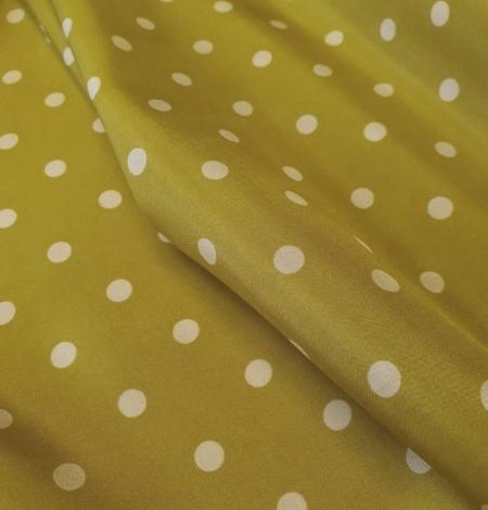 Olīvzaļā krāsā ar baltām pumpiņām zīda oderes audums . Photo 6