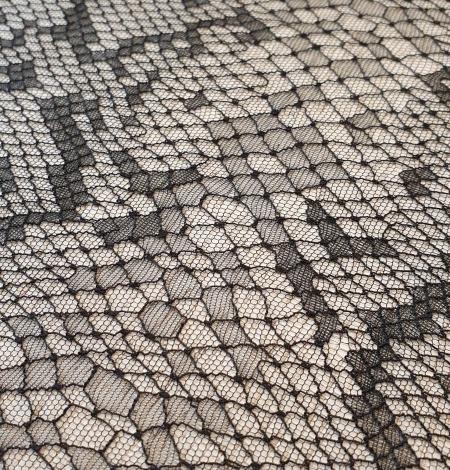Black chantilly viscose snake pattern lace fabric . Photo 4
