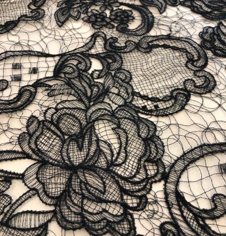 Black macrame lace fabric. Photo 2