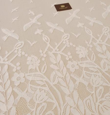 Ziloņkaula puķaina Chantilly mežģine. Photo 6