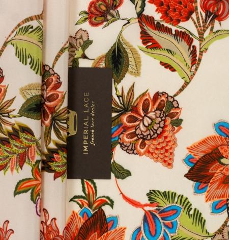 Daudzkrāsu ziedu printēts zīda krepa audums. Photo 2