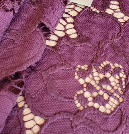 Plum lilac lace fabric. Photo 3