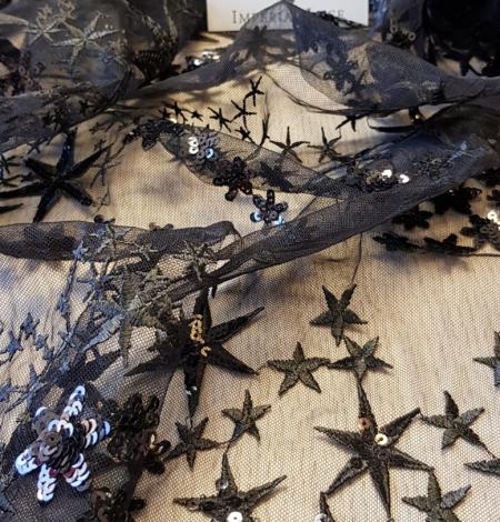 Menls zvaigžņu izšuvums ar fliteriem uz tilla auduma. Photo 3