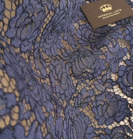 Bluish grey cotton polyester chantilly lace fabric . Photo 3