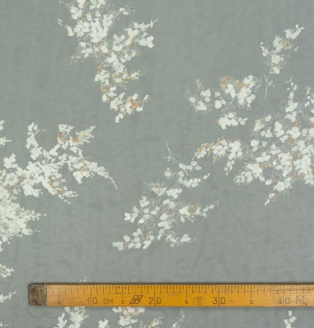 Pelēks ar ziedu rakstu krepe šifona audums. Photo 9