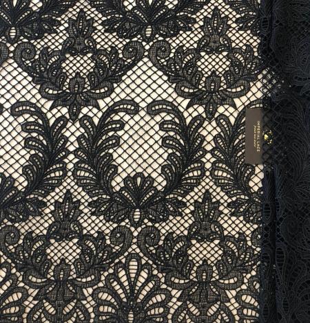 Black macrame thick guipure lace fabric. Photo 7