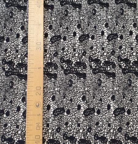 Black interesting design viscose guipure lace fabric . Photo 7