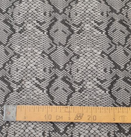 Black chantilly viscose snake pattern lace fabric . Photo 11