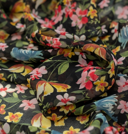 Melns ar daudzkrāsu ziedu rakstu poliestera šifona audums . Photo 6