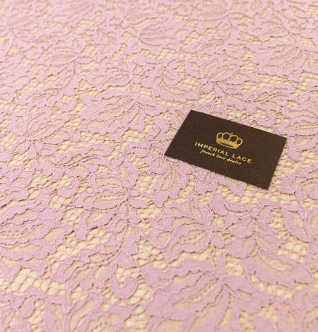 Gaiši rozā ziedu raksta guipure mežģīņu audums. Photo 5
