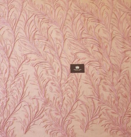Aveņu rozā lapu rakstu izšuvumi ar fliteriem uz mīksta tilla auduma. Photo 7