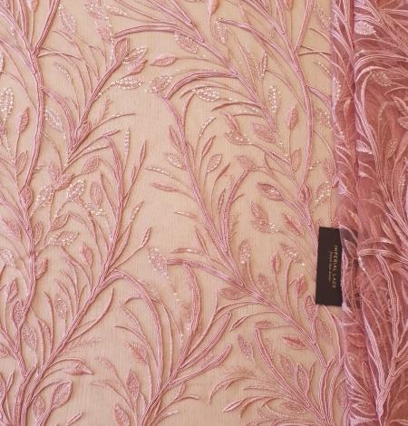Aveņu rozā lapu rakstu izšuvumi ar fliteriem uz mīksta tilla auduma. Photo 6