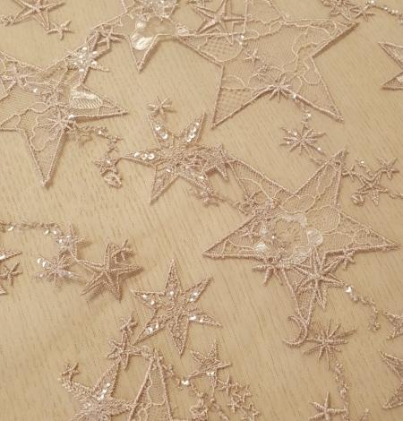 Veci rozā zvaigžņu raksts ar chantilly deteļām un fliteriem izšuvums uz tilla auduma. Photo 4