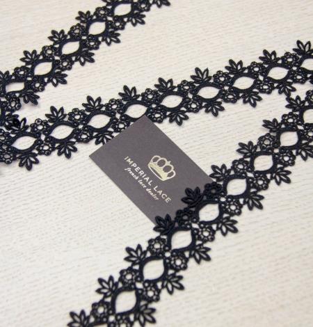 Melna ziedu raksta macrame mežģīņu mala. Photo 4