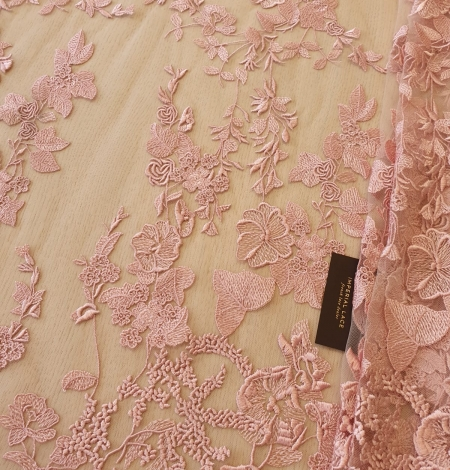 Veci rozā puķains raksts uz tilla auduma. Photo 1