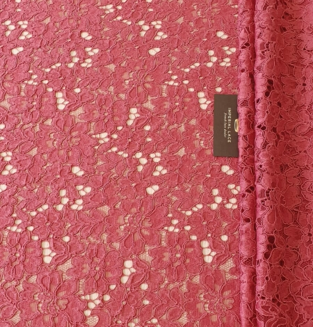 Rasberry pink 100% polyester floral guipure lace fabric. Photo 8