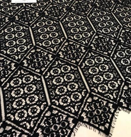 Melna ģeometriska guipure mežģīņu audums. Photo 1