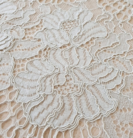Light grey with bluish green guipure lace fabric. Photo 4
