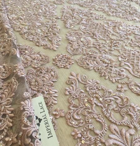 Veci rozā pērļots izšuvums mežģīņu audums. Photo 2