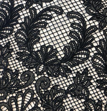 Black macrame thick guipure lace fabric. Photo 3