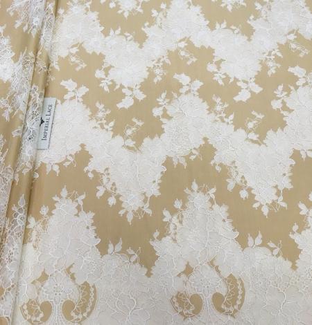 Dark beige lace fabric. Photo 1