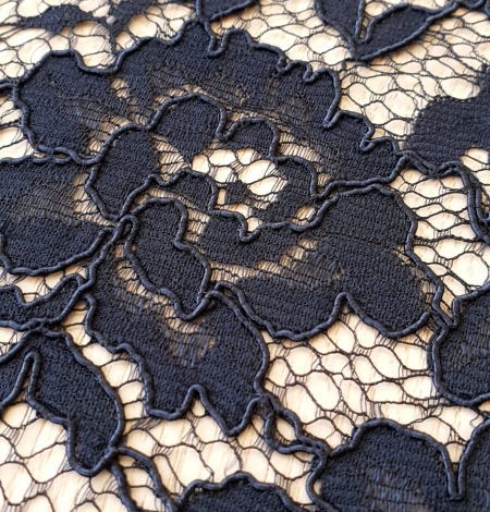 Dark blue guipure lace fabric. Photo 3