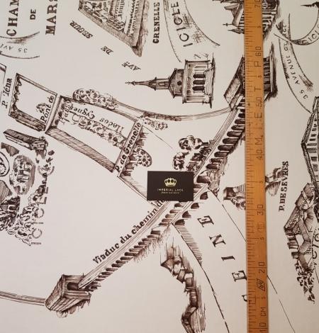 Ziloņkaula ar vecpilsētas zīmējumu ar tumši brūnu zīda crepe šifona audums. Photo 6