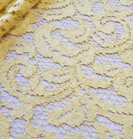 Yellow lace fabric. Photo 4