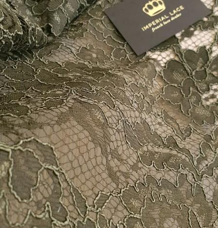 Dark haki green guipue lace fabric. Photo 4