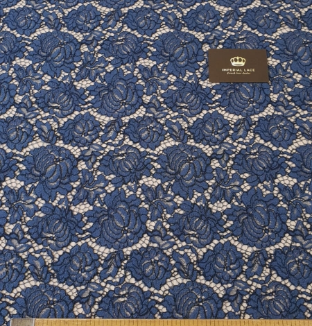 Dark blue cord thread lace fabric. Photo 11