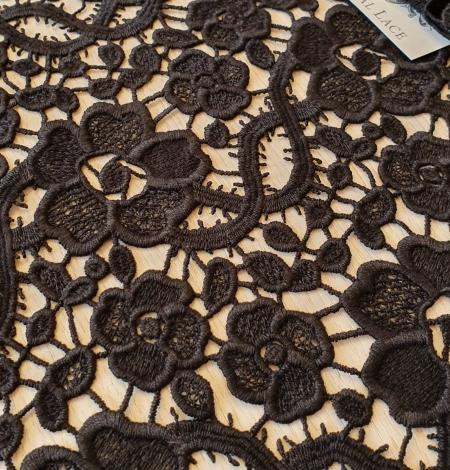 Black macrame lace fabric. Photo 3