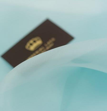 Gaiši zils zīda organzas audums. Photo 7