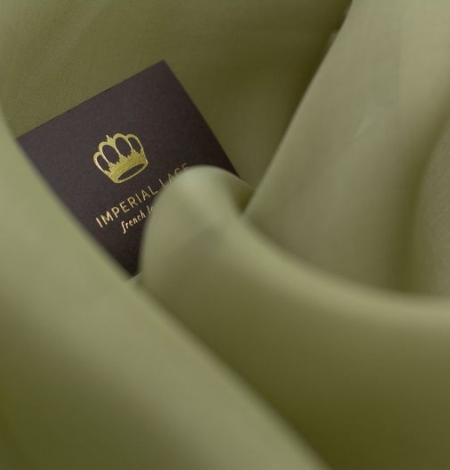 Olīvu zaļš zīda organzas audums. Photo 7