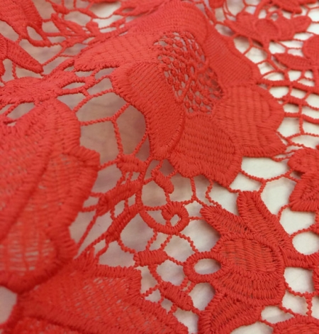 Coral orange macrame lace fabric. Photo 3