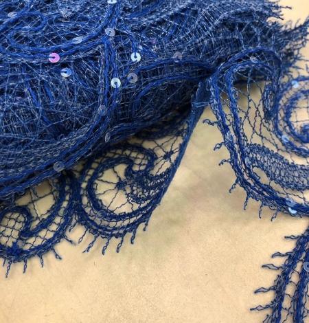 Zilas krāsas macrame mežģīnes maliņa ar fliteriem. Photo 6