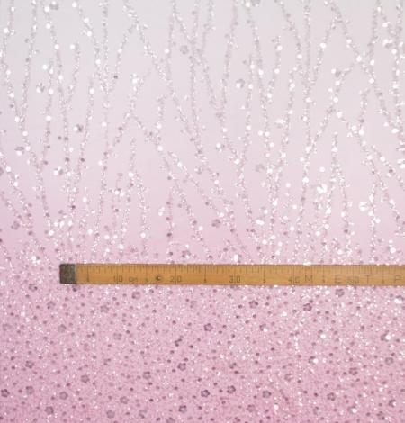 Rozā ombre pērļots izšuvums uz tilla auduma. Photo 5