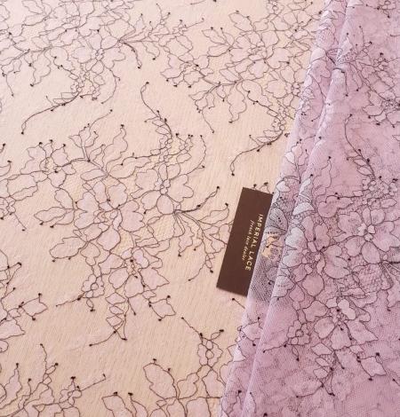 Ceriņu rozā ar melnu diegu Chantilly mežģīne. Photo 1
