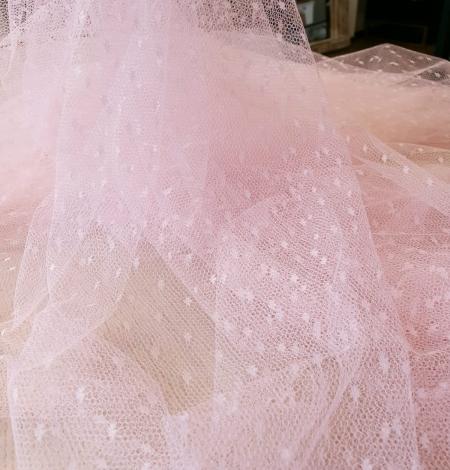 Viegli rozā pumpiņu tilla audums. Photo 7