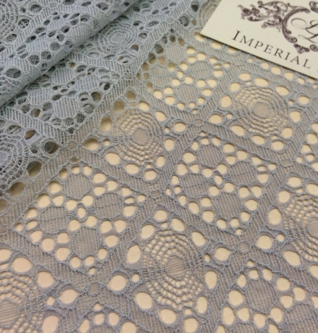 Grey Lace Fabric, French Lace. Photo 1