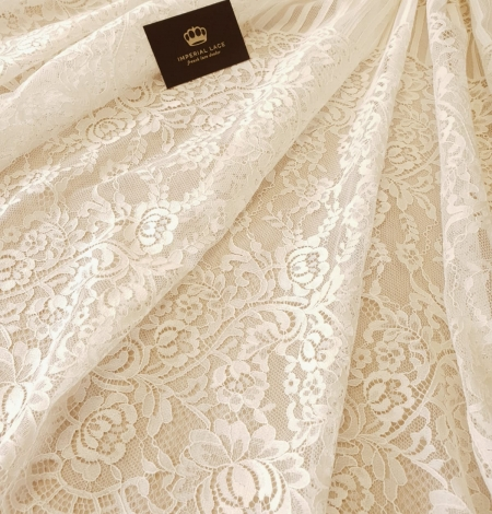 Ecru 100% polyester floral and stripes guipure lace fabric. Photo 7